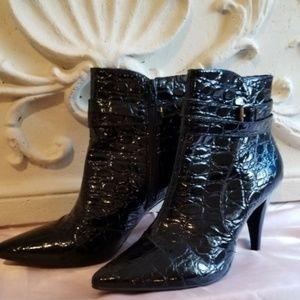 Antonio Melani Croc Embossed Black Patent Bootie